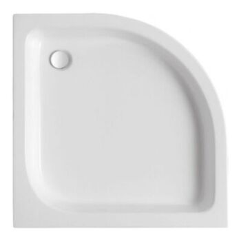 grafika przedstawiająca brodzik półokrągły, biały, akrylowy, płytki